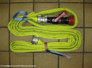 The C hose is stored in the AHB with a connected nozzle (Picture: Wernau Fire Department)