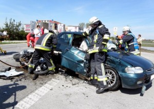 With Max from the firefighter lab: a traffic accident involving a motorcycle hitting a car (Picture: KFV Dachau)