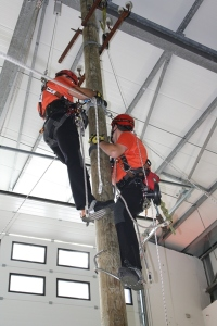 Rettungsübung an einem Holzmast im Vertical Rescue College (Foto: Skylotec)