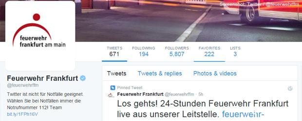 Feuerwehr Frankfurt twittert